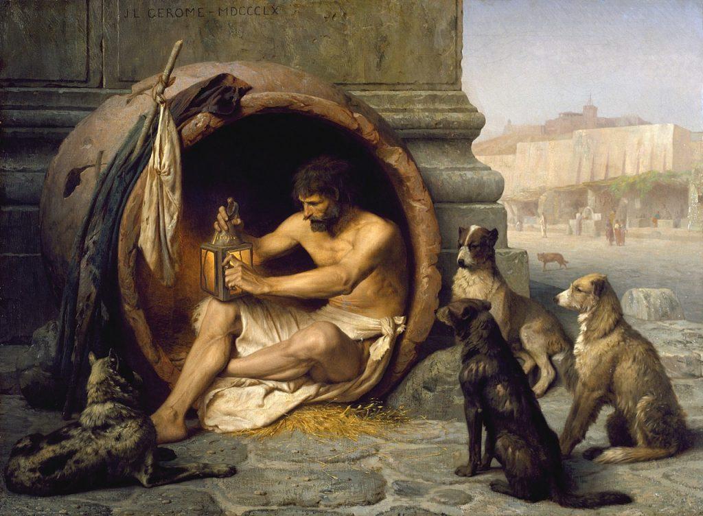 Diogène le philosophe qui vivait dans un tonneau